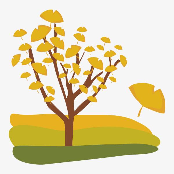 手绘银杏叶树