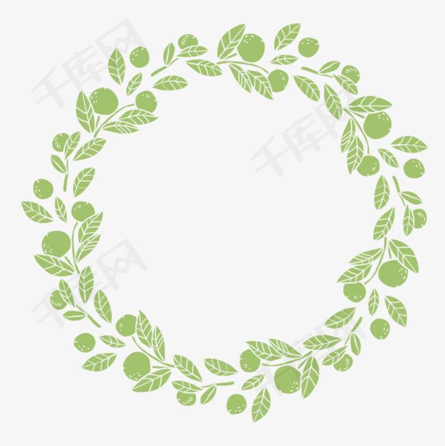 手绘绿叶环绕花边素材图片免费下载 高清png 千库网 图片编号8794390图片