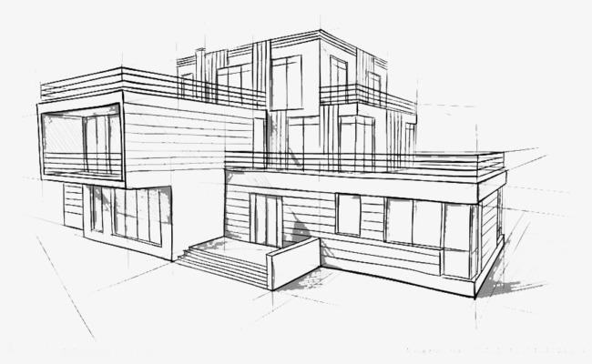 手绘的建筑物抽象图