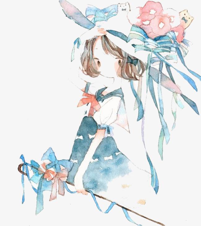 图片 水彩插画 > 【png】 水彩女孩  分类:手绘动漫 类目:其他 格式:p