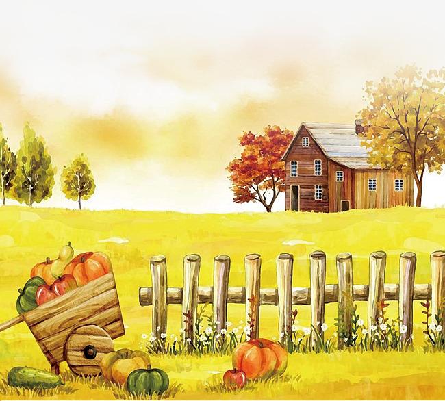 手绘农场丰收风景素材图片免费下载 高清psd 千库网 图片编号8813386