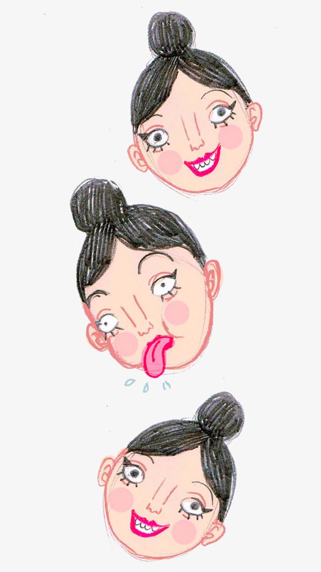 手绘的小女孩表情