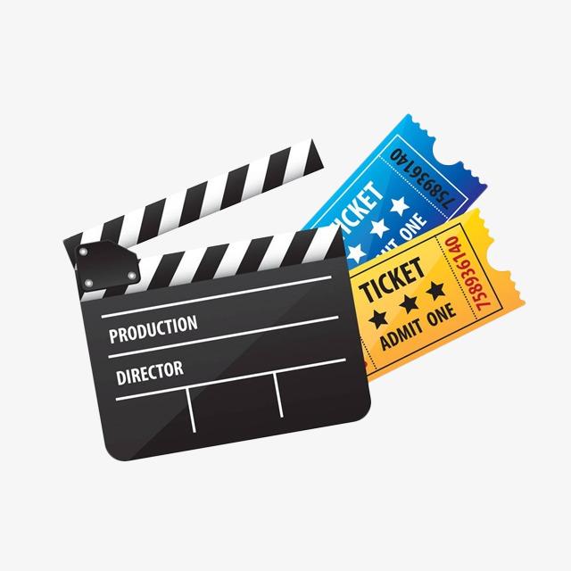 卡通场记牌和电影票图片