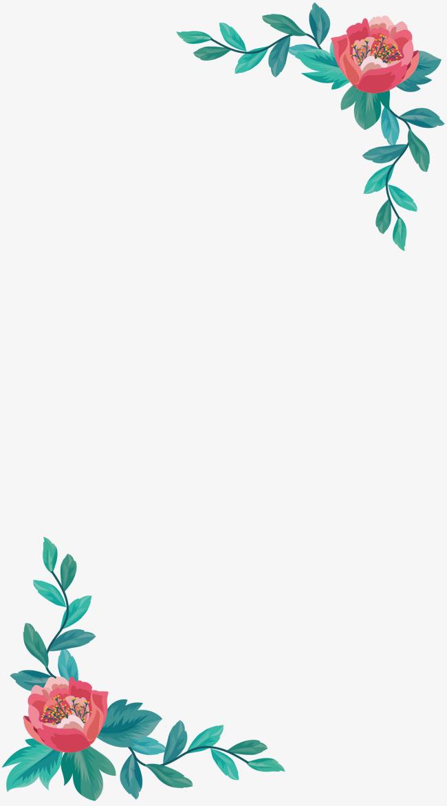 对角粉色山茶边框_png素材免费下载_ 1607*2894像素