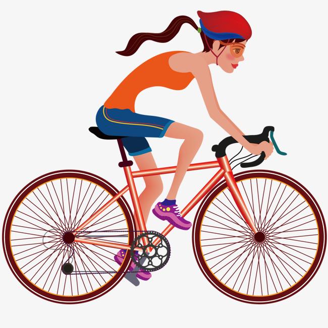 骑车女孩卡通图卡通骑车自行车卡通人物运动-骑车女孩卡通图素材图图片