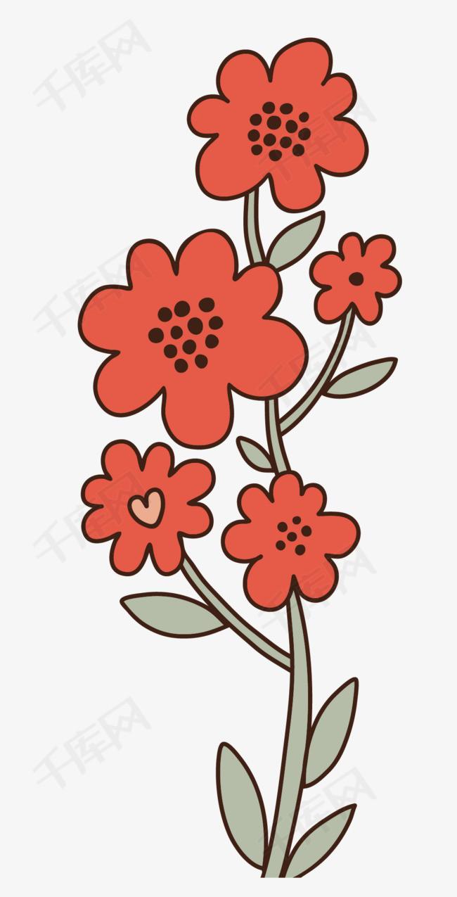 手绘植物小红花素材图片免费下载 高清png 千库网 图片编号8857962