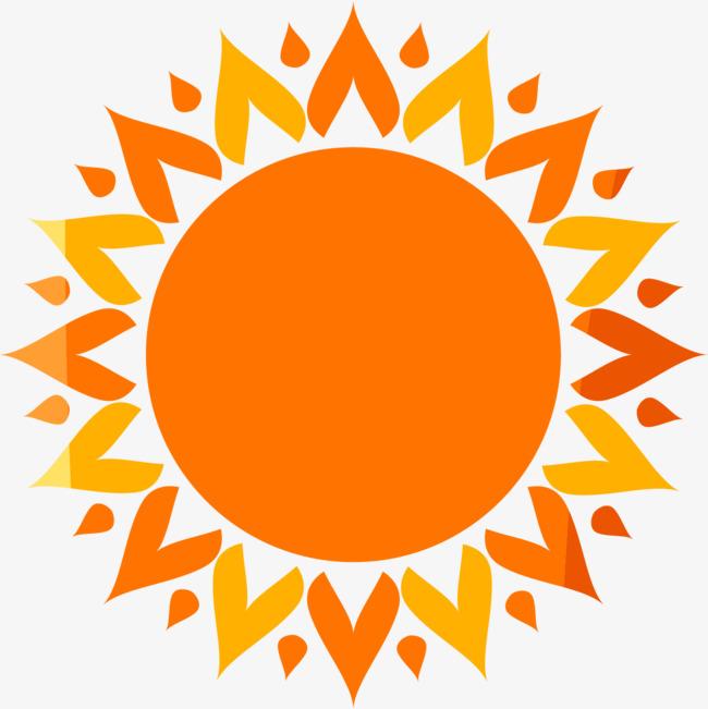 手绘橙色太阳