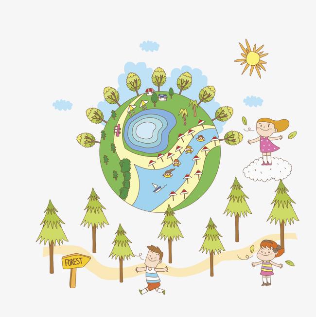 手绘迷你绿色地球