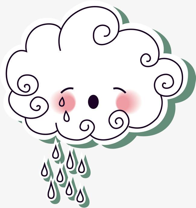 下雨 手绘云朵 云朵 云朵表情 卡通云朵表情 云朵哭泣表情 可爱表情