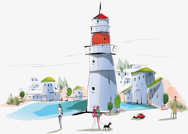 手绘城市建筑 插画 手绘 海边 灯塔