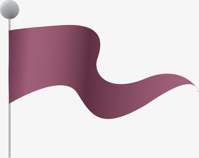 手绘紫色旗子