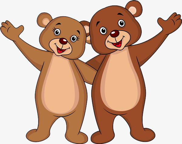 两只小熊打招呼