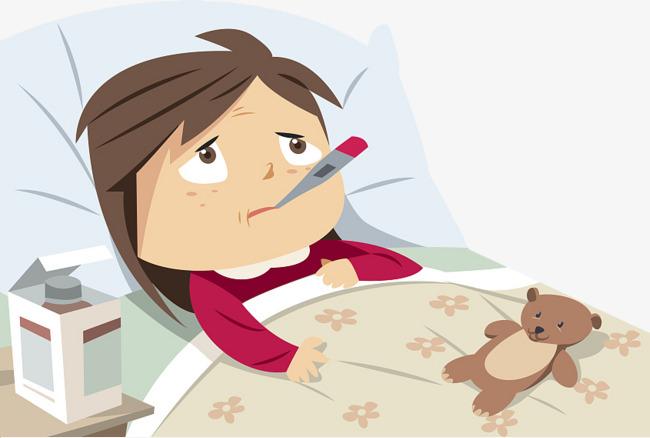 卡通插图生病发烧难受图片