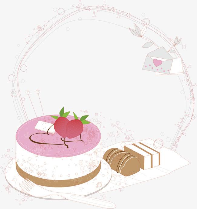 淡色边框 淡粉色 花纹 渐变 蛋糕 手绘