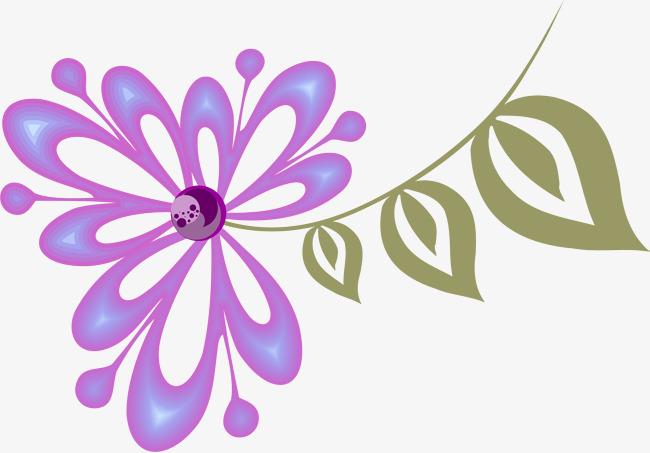 紫色手绘花朵