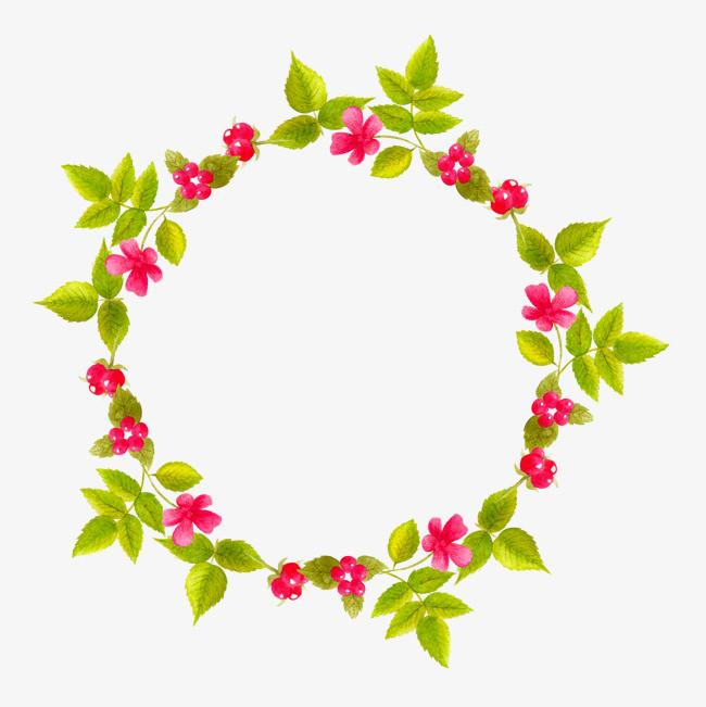 手绘圆形花环