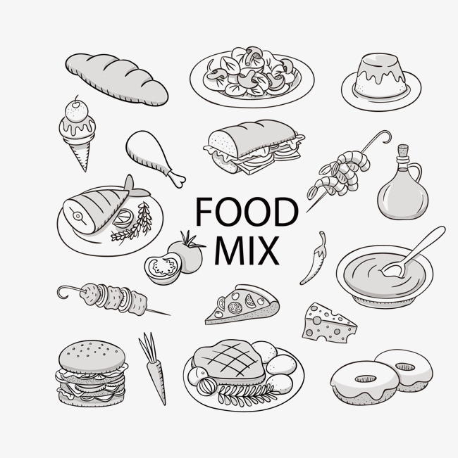 矢量手绘食物