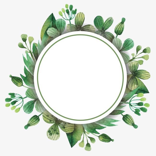绿色彩绘树叶边框素材图片免费下载 高清装饰图案psd 千库网 图片编