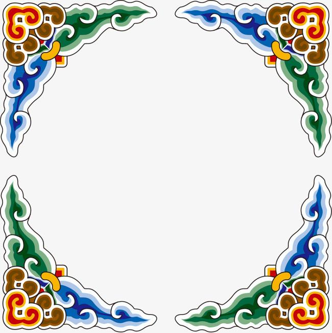 手绘彩色祥云边框图案