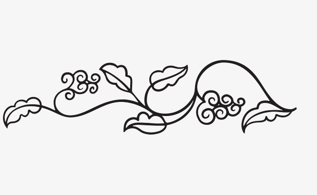 手绘线条花卉