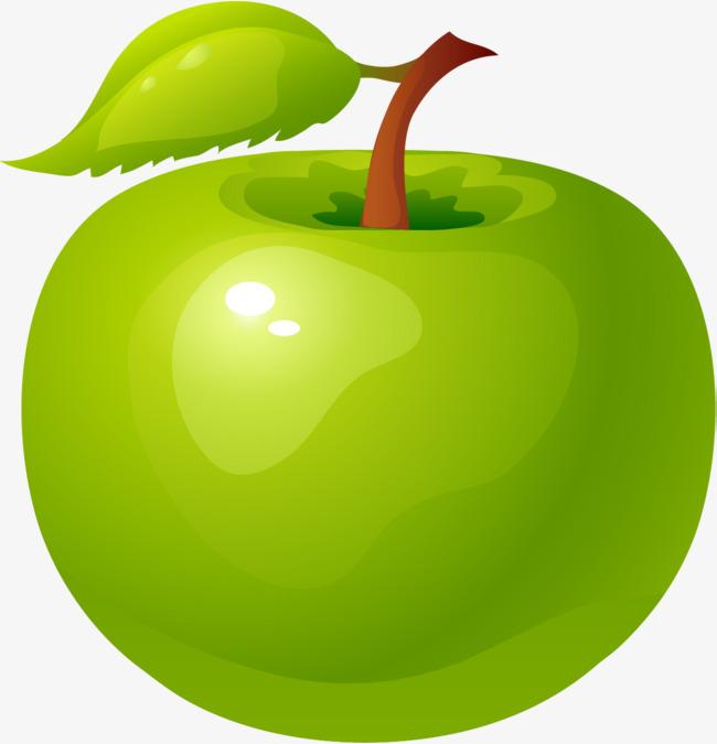 手绘绿色苹果