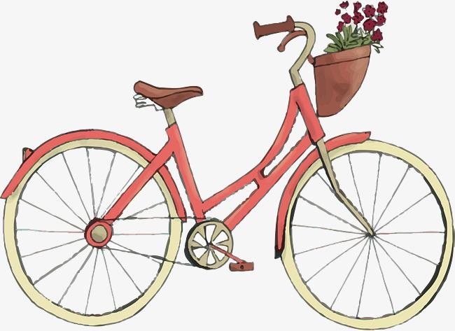 红色手绘自行车