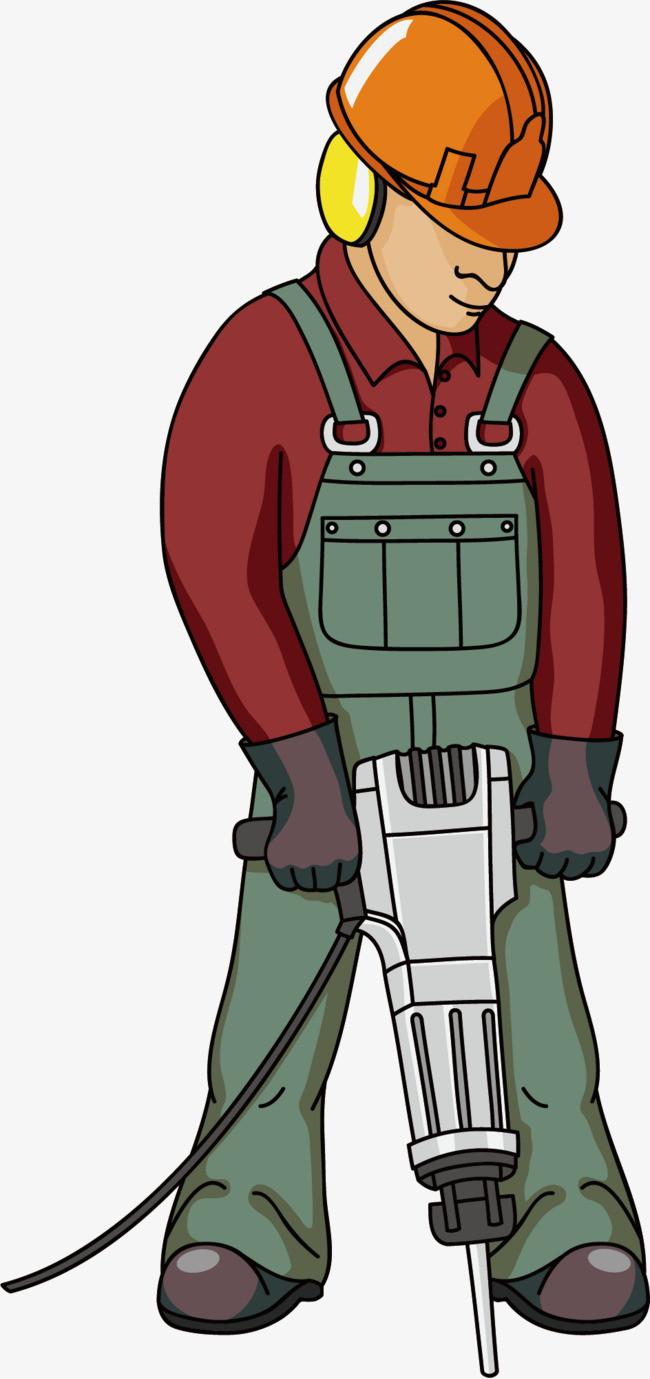 图片 > 【png】 戴安全帽拿电钻的工人  分类:手绘动漫 类目:其他图片