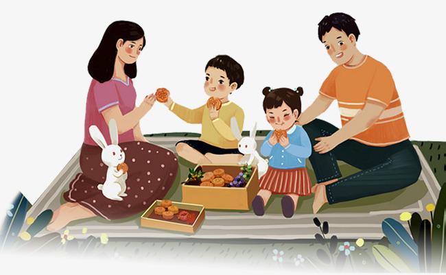 中秋节全家团聚卡通图案中秋节全家团聚卡通图案吃月饼团圆八月十五
