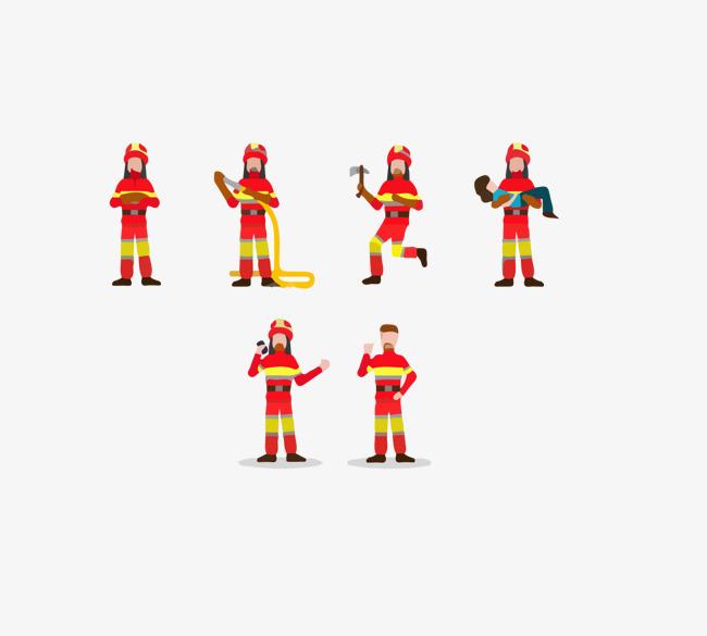 消防人员合集图标