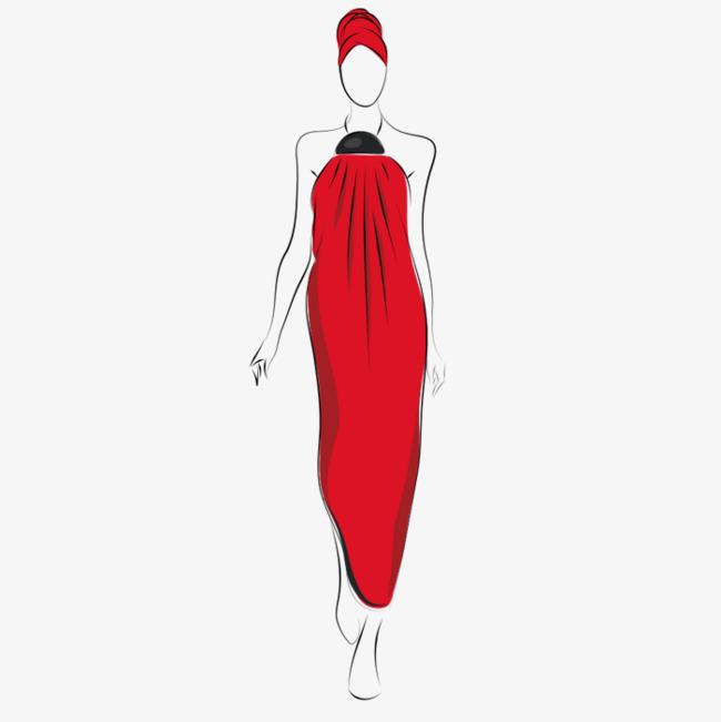 手绘红色长裙时装女孩