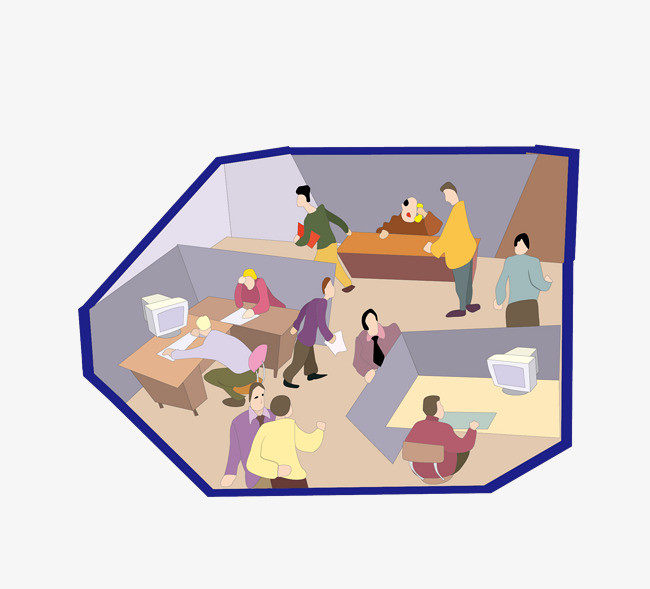 矢量卡通办公室人员办公png图片