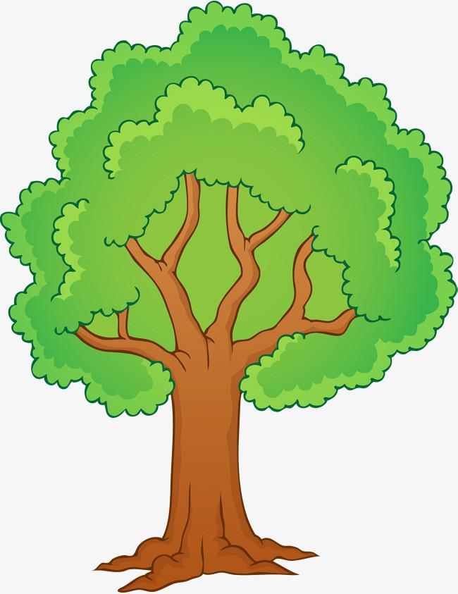 手绘绿色大树