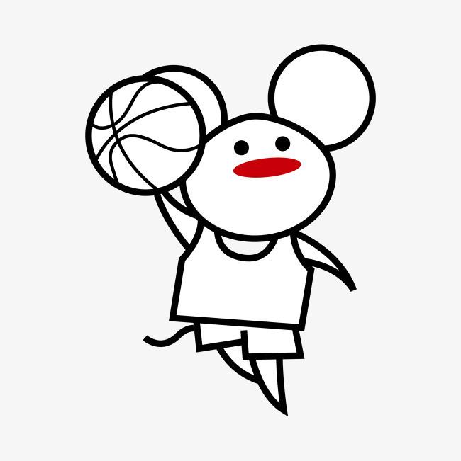 手绘 老鼠打篮球 装饰