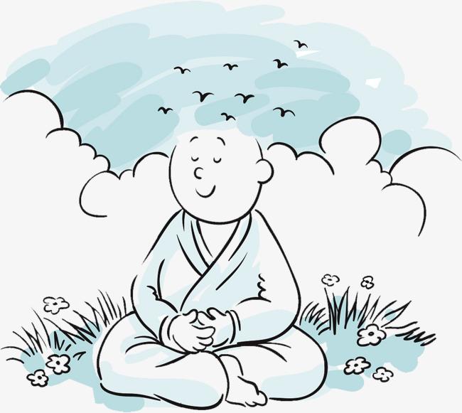 卡通手绘插图僧人打坐卡通僧人手绘小和尚僧侣佛和尚简笔插图-卡通