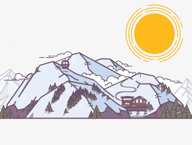 手绘卡通富士山