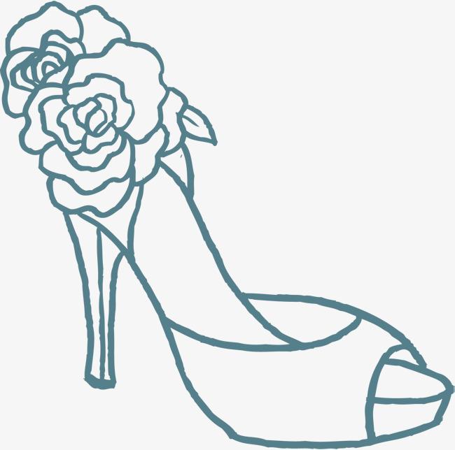 手绘蓝色高跟鞋png素材下载_高清图片png格式(编号:)图片