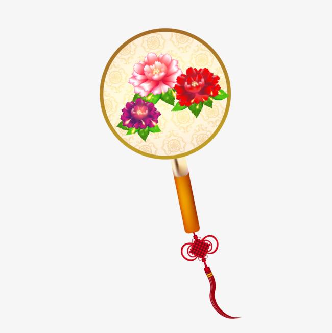 手绘中国风牡丹花扇子