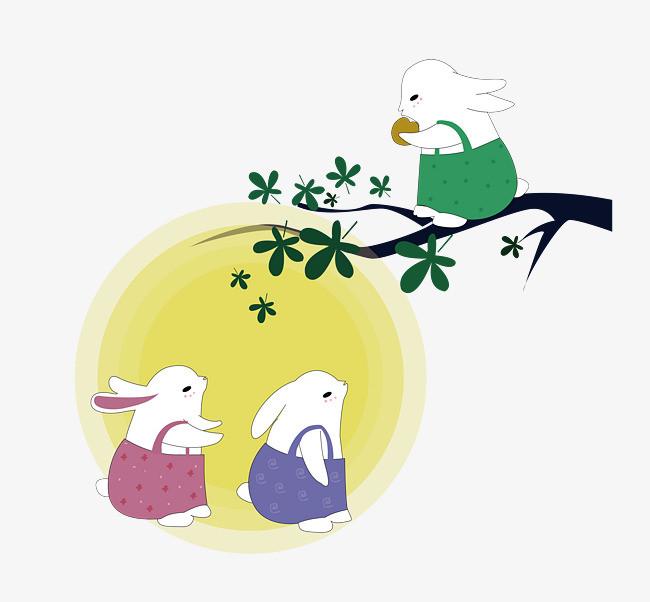手绘中秋兔子png素材下载_高清图片png格式(编号:)-90