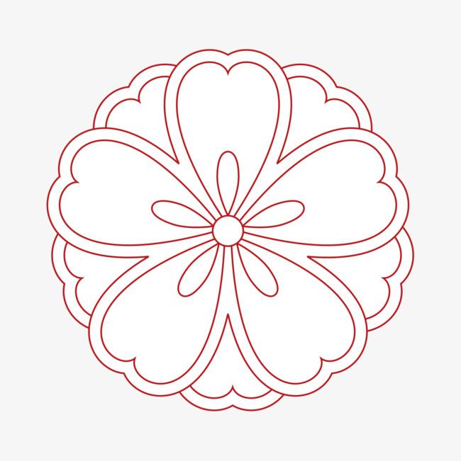 圆形花朵素描