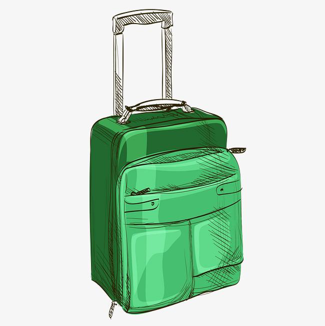 手绘素描绿色行李箱