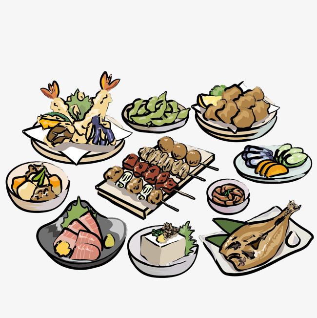 彩色手绘烧烤美食矢量图