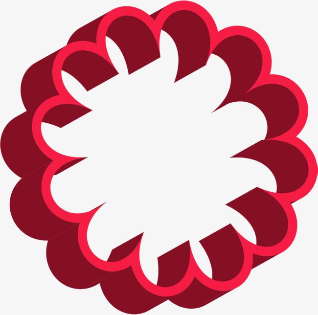 手绘红色圆圈波浪纹