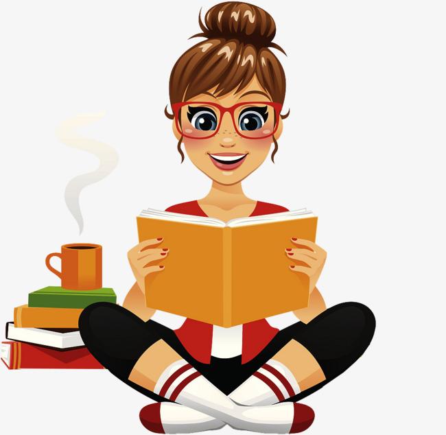 卡通女孩边看书边喝咖啡图片
