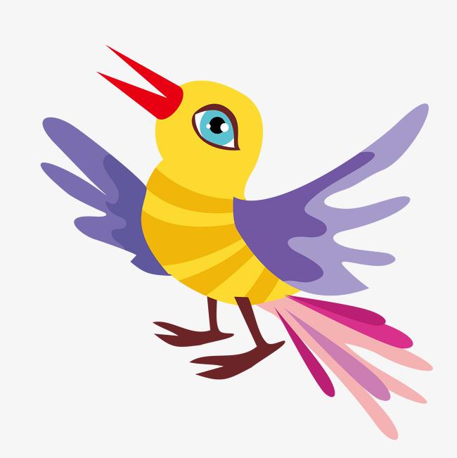 手绘卡通彩色小鸟
