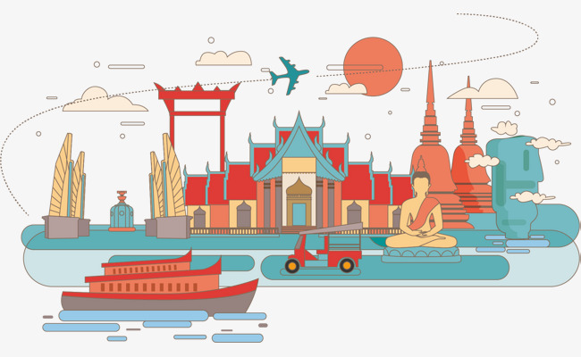 泰国手绘 泰国特色 泰国 手绘 泰国标志 美景泰国手绘 泰国特色 泰国