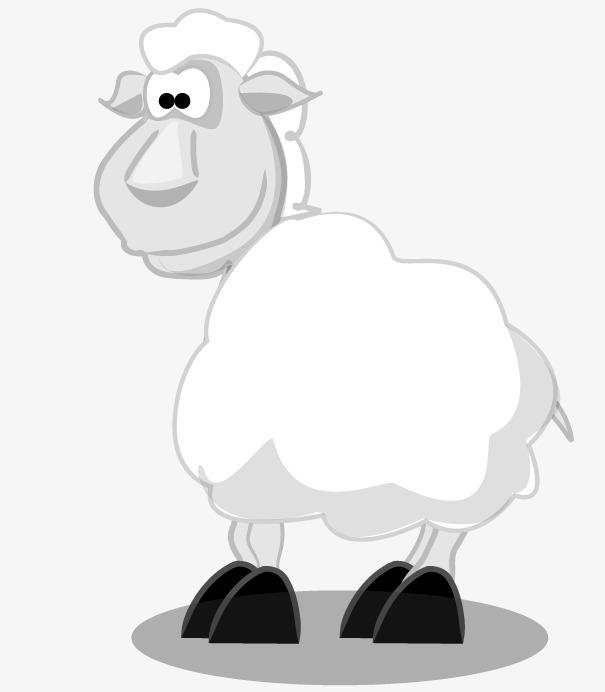 黑白简图绵羊