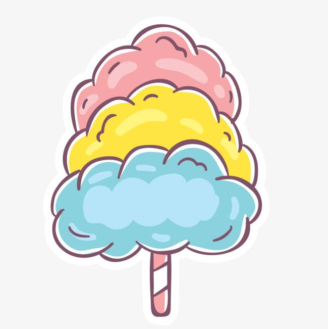 手绘卡通彩色棒棒糖棉花糖