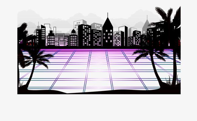 卡通手绘城市建筑广场png素材-90设计