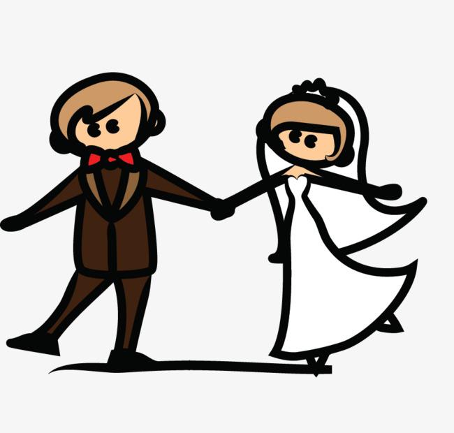 手绘新郎新娘跳舞
