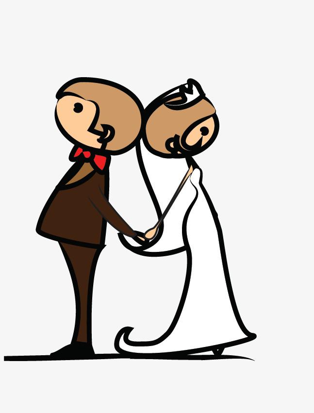 手绘新郎牵手新娘